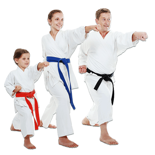 Martial Arts Lessons for Families in Carrollton TX - Man and Daughters Family Punching Together