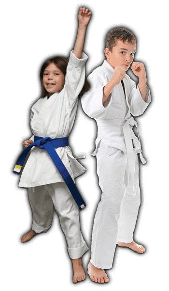 Martial Arts Lessons for Kids in Carrollton TX - Happy Blue Belt Girl and Focused Boy Banner
